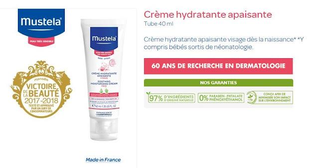 Crème hydratante apaisante Mustela peau très sensible