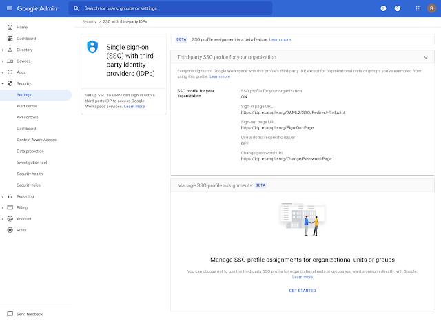 画像の説明: 管理コンソールで [セキュリティ] > [設定] > [サードパーティの ID プロバイダを使用したシングル サインオン(SSO)の設定] > [SSO プロファイルの割り当ての管理] に移動して、Google を使用して認証を行う特定の組織部門またはグループを指定します。