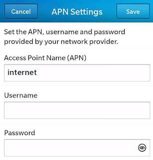 TPG APN Settings for Blackberry Passport