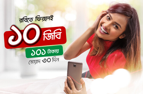 Robi Bondho SIM Offer 2018, 10GB Internet @Tk101 Validity 30 Days