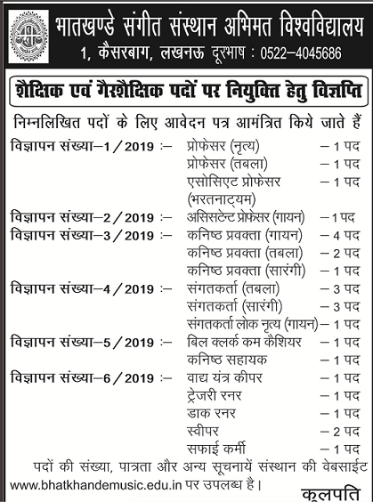 Bhatkhande Lucknow Recruitment 2019 Junior Assistant Clerk Deo Jobs
