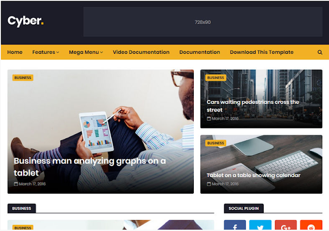 9. Cyber Blogger Template