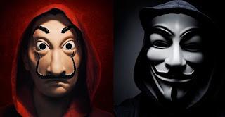 La máscara de Dalí y la de Anonymous