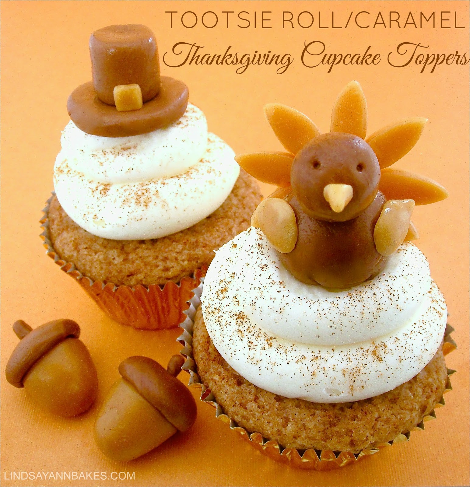 Tootsie Roll Caramel Thanksgiving Cupcake Toppers