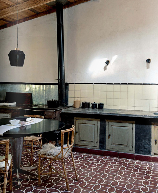 Contemporary kitchens with cement tiles| Image by Nathalie Krag via Elle Decor Italia 2013