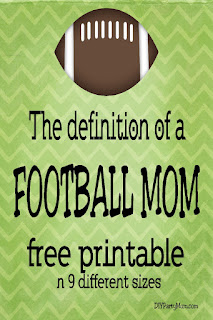 Show your Football Mom pride with this free quote printable. Find this football print in 9 different sizes so you can share it with everyone who cheers you and your son on.  #footballmom #footballprintable #quoteprintable #diypartymomblog