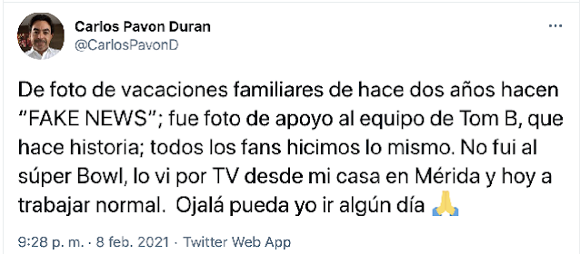 Noticia falsa que comisionado del INAIP haya asistido al Súper Bowl en Florida con sus hijos. Twitter