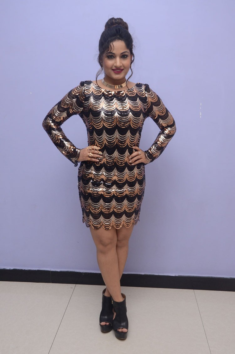Hot Legs Show Photos Of Madhavi Latha In Short Dress