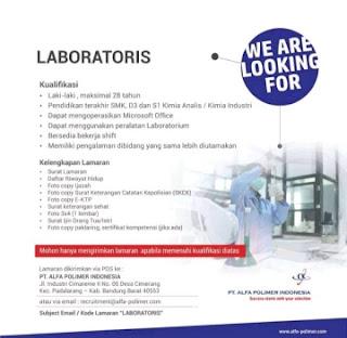Lowongan kerja laboratoris PT Alfa Polimer Indonesia 2020