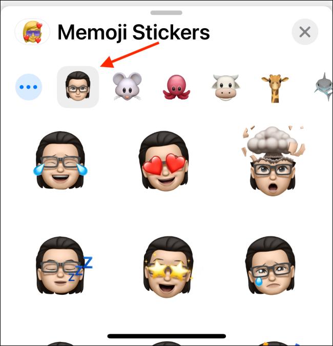 اختر Memoji الخاص بك من عرض لوحة المفاتيح