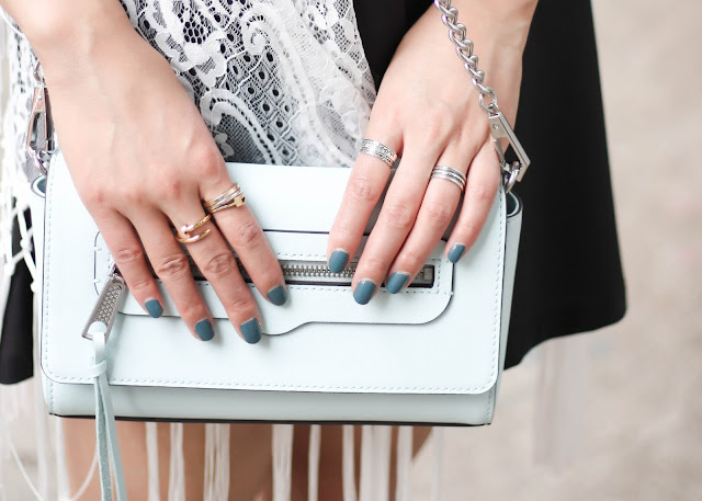 Rebecca Minkoff Mint Color Bag and Teal Nails
