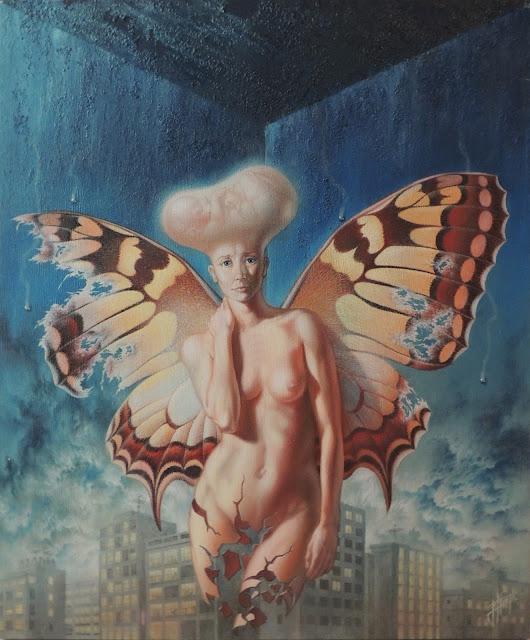 Enrique Nieto arte surrealista desnudo mariposa