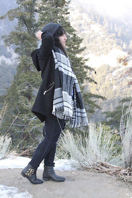 Lake Arrowhead Cabin Outfit Inspiration Express Coat and Blanket Scarf