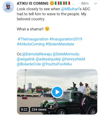 Acording to twitter user Buhari was reminded yesterday to wave to the crowd (See Video)
