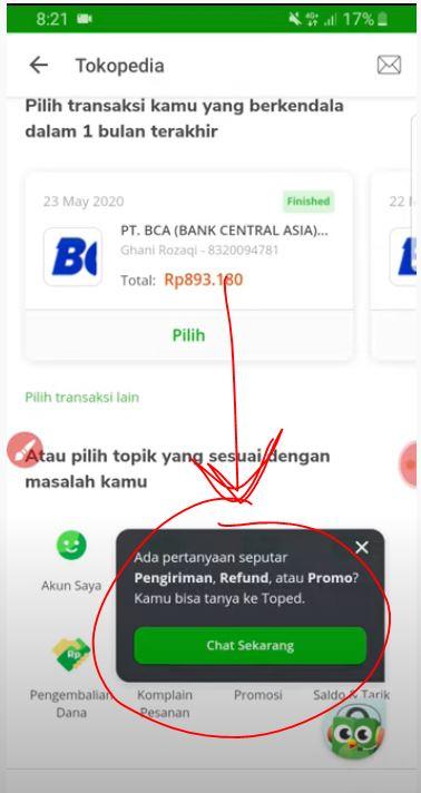Chat Pusat Bantuan Tokopedia Uang Hilang