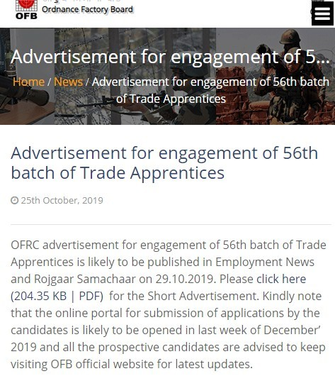 OFB 4805 Trade Apprentice Recruitment 2019