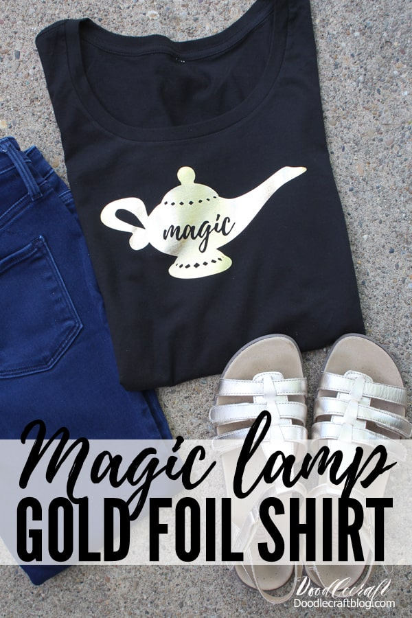 How to upload a jpeg jpg into Cricut Design Space to make a shirt tutorial featuring Cricut Maker and EasyPress 2.  Iron on metallic gold foil cut like Aladdin's lamp with the script magic on it.  Made in 10 minutes by doodlecraft.