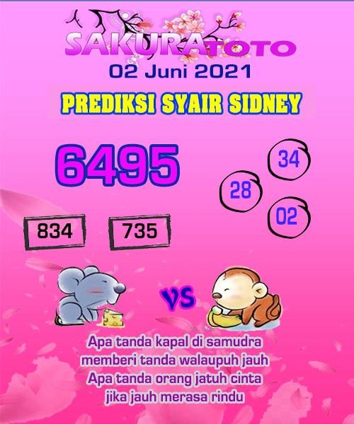 Syair Sakuratoto Sidney Rabu 02 Juni 2021