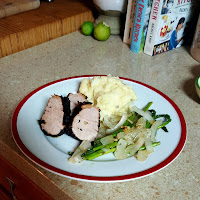 Honey Mustard Pork, Cheesy Mashed Potatoes, Sautéed Asparagus
