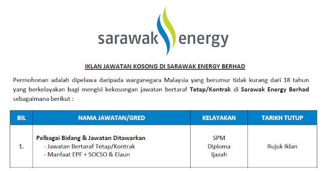 jawatan kosong 2021 sarawak energy