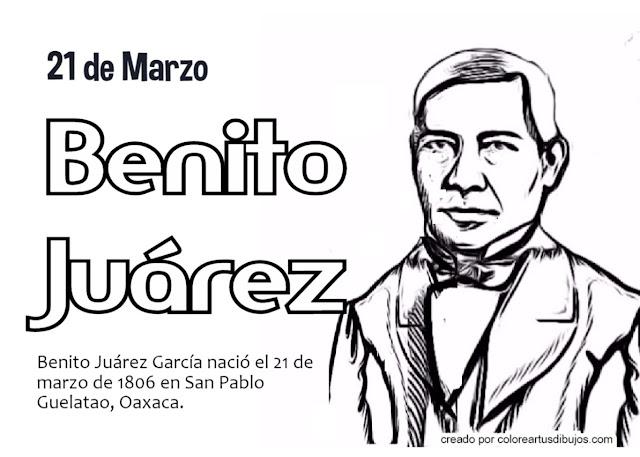 colorear de Benito Juárez