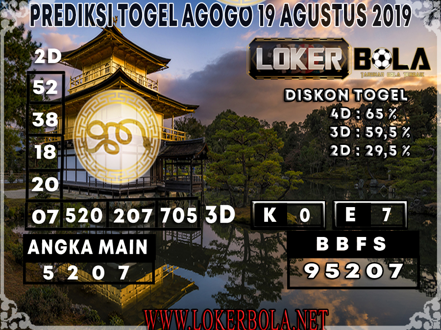 PREDIKSI TOGEL AGOGO LOKERBOLA 19 AGUSTUS 2019