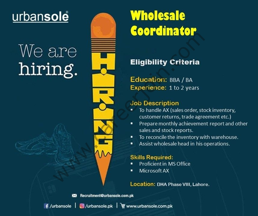 recruitment@urbansole.com.pk - Urbansole Jobs 2021 in Pakistan