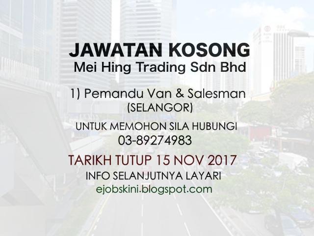 Jawatan Kosong Pemandu Van dan Salesman
