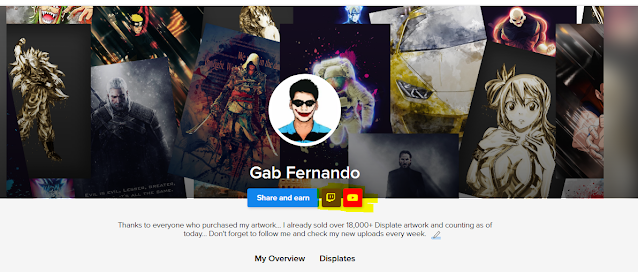 Gab Fernando youtube and twitch link on Displate