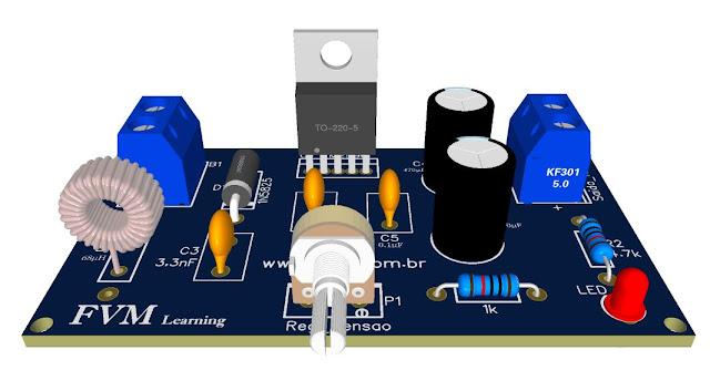 Circuito Fonte Ajustável tipo Buck 1.2V à 37V, 3A, proteção contra Curto com LM2596 + PCI