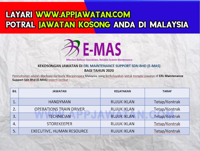 Jawatan Kosong Terkini di ERL Maintenance Support Sdn Bhd (E-MAS).