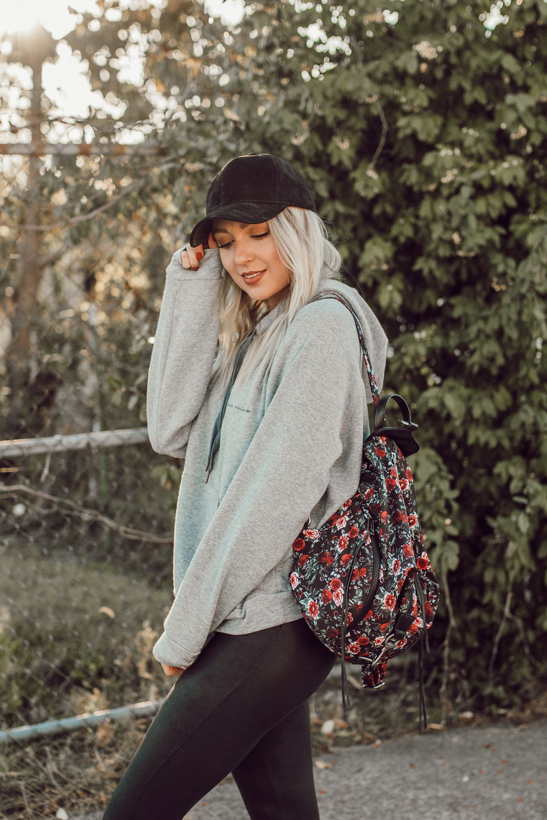 floral rebecca minkoff backpack / cute athleisure outfit
