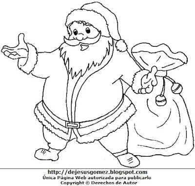 Papa Noel para colorear pintar imprimir. Dibujo de Papa Noel de Jesus Gómez