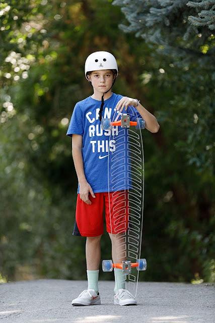 """Ghost Long Board (Light up Green Wheels, 48"""" Fishbone Longboard"""