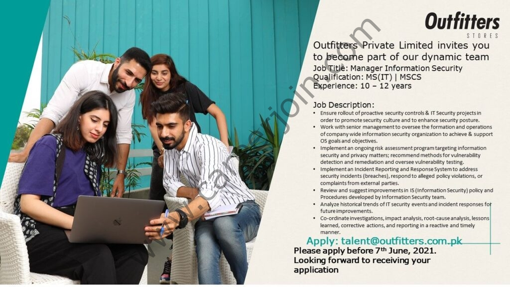 talent@outfitters.com.pk - Outfitter Pvt Ltd Jobs 2021 in Pakistan