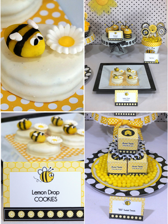 Honey Bee Birthday Desserts Table - via BirdsParty.com