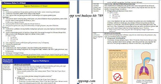 Download Rpp Seni Budaya Smp Kelas 7 8 9 Kurikulum 2013 Revisi 2017 dan Revisi 2020 1 Lembar Semester 1 2 Ganjil dan Genap Lengkap Silabus Promes Prota Dll