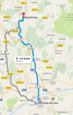 mapa do Caminho de Santiago entre Ponte de Lima e Agualonga