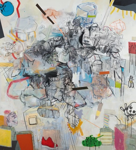 Thameur Mejri, Two figures at war, 2016. | obras de arte abstracto contemporaneo, pinturas abstractas, imagenes | art selecta pictures inspiration