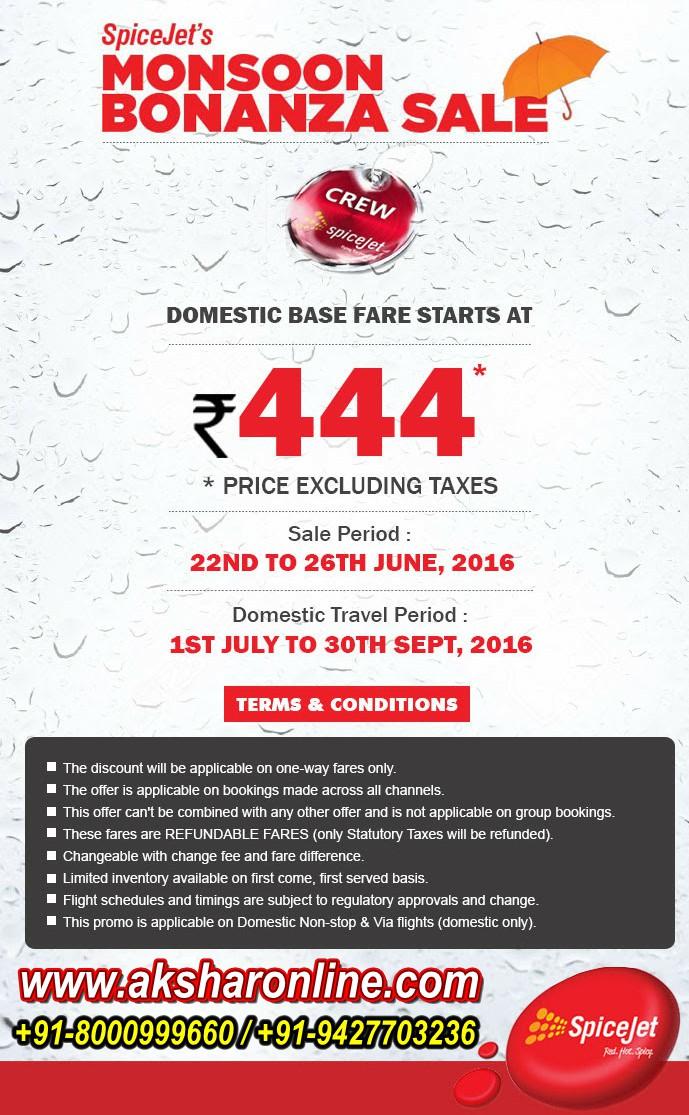 aksharonline com: Spicejet's Monsoon Bonanza Sale