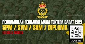 Pengambilan Perajurit Muda Tentera Darat Lelaki & Wanita Tahun 2021