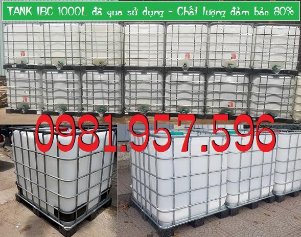 TANK IBC 1000L cũ, bồn nhựa đựng keo, bồn đựng hóa chất