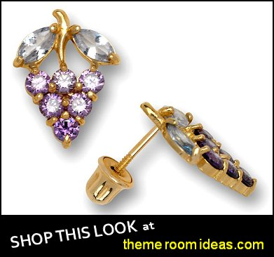 Grape Shaped Stud Earrings with Screw Back and Cubic Zirconia - Solid 14k Yellow Gold - Purple and Pink earrings
