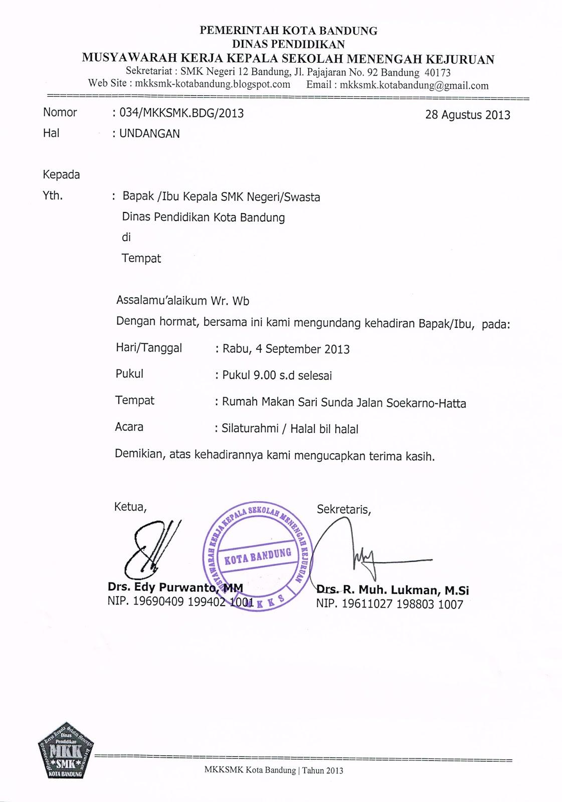 Musyawarah Kerja Kepala Smk Kota Bandung Undangan Halal Bi Halal
