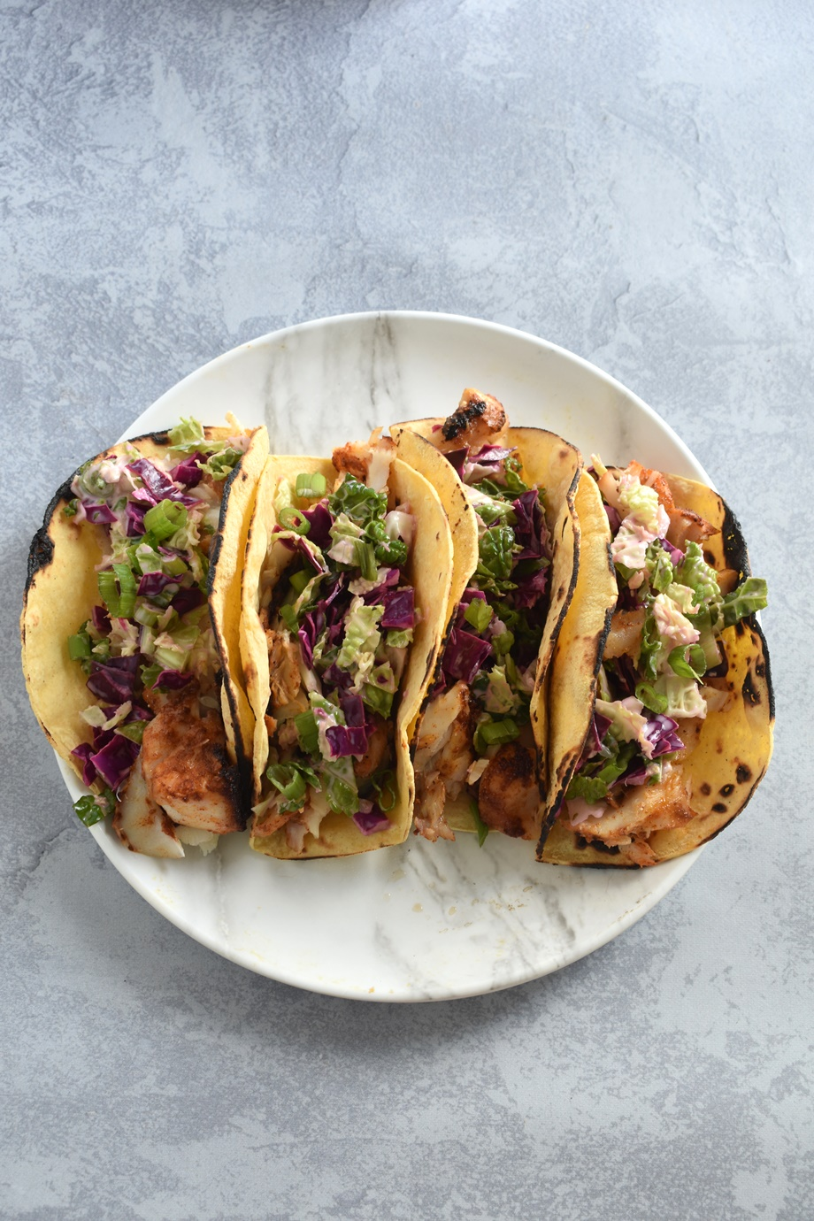 plate of blackened fish tacos