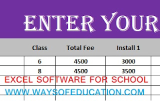 AUTOMATED EXCEL FEE SOFTWARE FOR SCHOOL AND COCHING CLASS