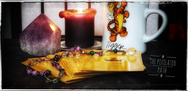 Goddess Guidance Oracle Cards with an Amethyst Crystal, a Candle, Coffee, & Prayer Beads