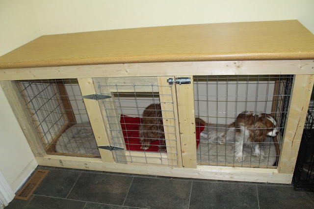 Under counter cabinet style built in dog kennel