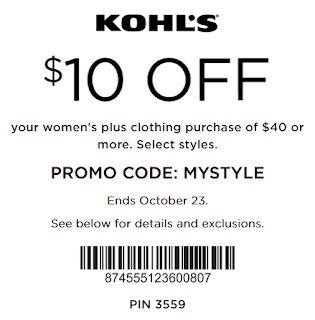Kohls coupon $10 Off $40 Women's Plus clothing oct 23
