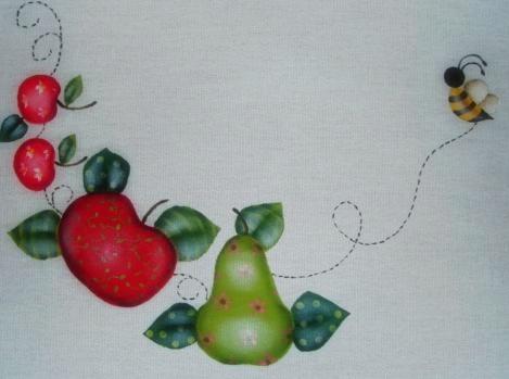 pintura em tecido toalha de chá em folk art